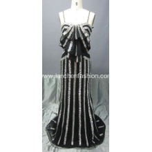 Floor Length Spaghetti Strap Sequin Prom Dress
