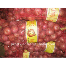 Chinesische frische rote Zwiebel in Mesh-Tasche