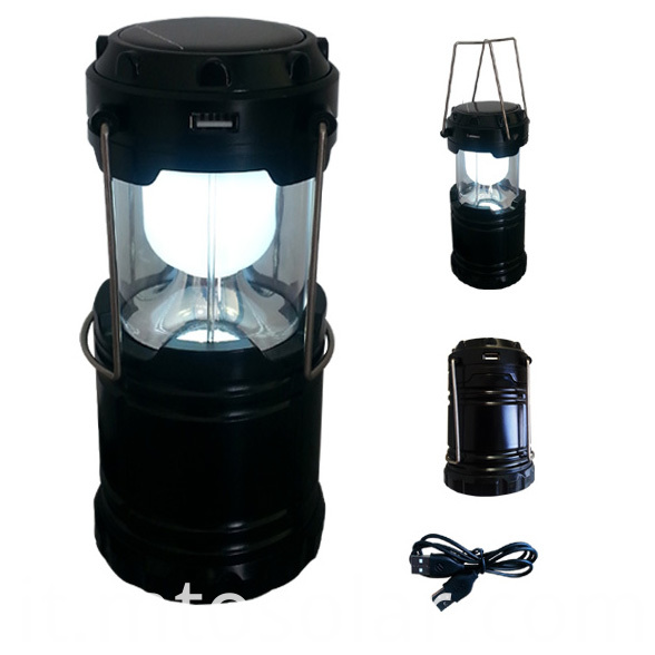 solar foldable lantern black