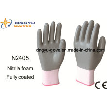 Polyester Shell Nitrile Coated Saftey Work Gloves (N2405)