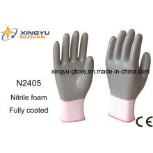 Guantes de trabajo con revestimiento de nitrilo de poliester Shell Saftey (N2405)