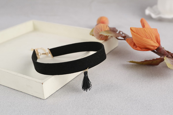 black necklace, tiny tassel necklace, tassel necklace
