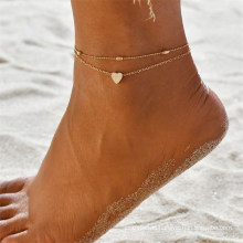 Fashion Oval Bead Chain Big Love Anklet Women′s Beach Double Layer Anklet