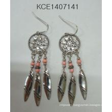 Beads Earrings with Metal Leaf Pendant