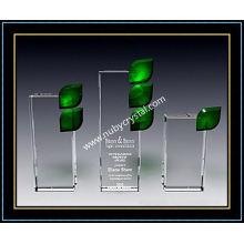 """Récompense pour plaque de feuille de cristal vert 8.5 """"H (NU-CW694)"""