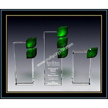 """Placa de cristal verde placa prêmio 8,5 """"h (nu-cw694)"""