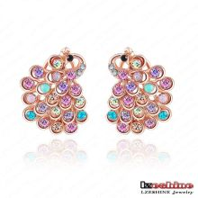 CZ Crystal Animal pavo real Stud Earring modelos para las mujeres (ER0015-A)
