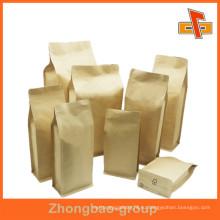 Переработанная продовольственная марка Декоративные коричневые крафт-бумажные пакеты для орехов Упаковка пищевых продуктов