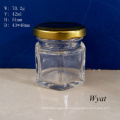 40ml Hexagonal Honey Glass Jar 1.5 Oz Glass Jar for Jam Glass Honey Jar with Cap