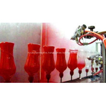 Automatic spraying line of glass bottles