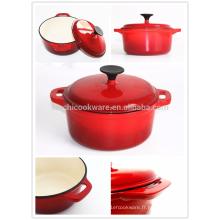 Pot de soupe de casserole en émail en fonte de haute qualité avec couvercle