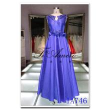 Китай Гуанчжоу Королевский синий рукавов атласная Макси платье с Многоярусной юбкой