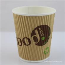 Taza de papel de café desechable de 12 oz con tapa