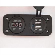 Voltmeter und Doppel-USB-Steckdose Flush Mount Square Car 4X4 Wohnmobil Caravan
