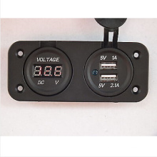 Voltmeter and Double USB Power Socket Flush Mount Square Car 4X4 Camper Caravan