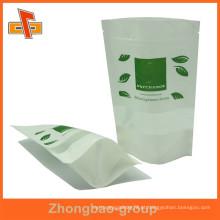 Zipper superior personalizado laminado impresso saco de papel de arroz com janela