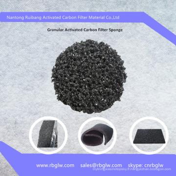 Fibre de matériau de nettoyage de l'air granulaire mousse de charbon de bois active éponge