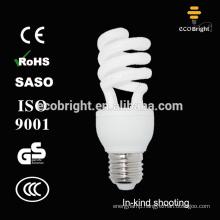 Good quality !T3 15W Half Spiral cfl lamp 10000H CE QUALITY