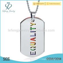 Nouveau pendentif gay arc-en-ciel, pendentif à lettre, tag dog design