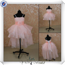 FF0001 Newest Pink Organza Front Short Long Back kids princess wedding dresses
