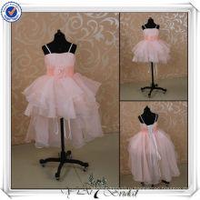 FF0001 Новый розовый органзы передняя короткие длинные назад дети принцесса свадебные платья