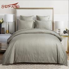 Fornecimento de hotel / peru de cetim de algodão cinza 500TC fez o conjunto de tampa de cama / roupa de cama do hotel
