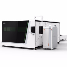China all covered fiber laser cutting machine with exchanging platform high power