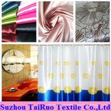 100% Polyester Printed Satin for Home Bath Curtain Fabric