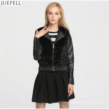 Design de moda inverno mulheres casaco de pele parágrafo curto senhoras PU jaqueta de couro casaco de pele