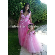 Honey Pink Flowers Beaded Sweetheart Tulle Parent-child Bridesmaid Dresses 2016 vestido de festa de casamento ML241