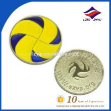 Fundición de aleación de zinc esmalte moneda juego de fútbol recuerdo moneda