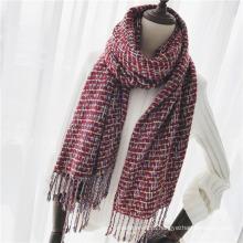 Caxemira da mulher como clássico verificado malha inverno lenço de xaile de impressão (sp306)