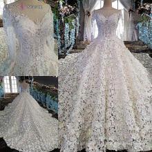 LS00152 manga longa branco v volta china vestido de noiva feito sob medida longo vestido de casamento trilha