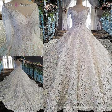 LS00152 lange Hülse weißes v rückseitiges Porzellan nach Maß Hochzeitskleid langes Spurhochzeitskleid
