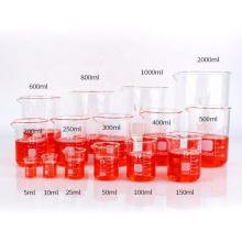 borosilicate glass measuring low form beaker 600ml glass graduated beaker