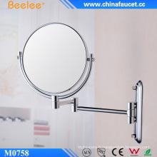 Miroir cosmétique mural rond en laiton chromé de 8 pi