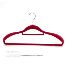 Swivel Hook Flocked Velvet Adult Clothes Hanger with Big Suit Shoulder