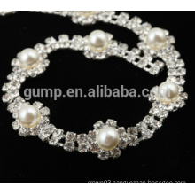 custom rhinestone trim chain with pearl for shoes
