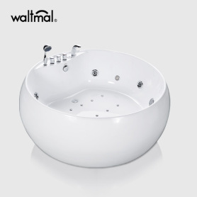 White Big Round Whirlpool Freestanding Bathtub