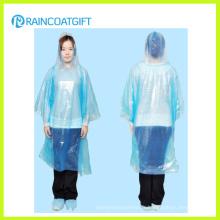 Bleu couleur pleine longueur Disposbale PE Raincoat