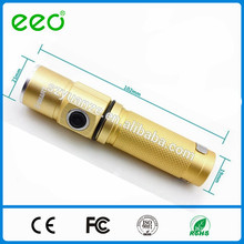 mini luxury gold color LED torch, rechargeable mini led flashlight