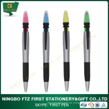 PRIMERO D012 forma triángulo 2 en 1 pluma / bolígrafo de plástico con resaltador