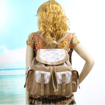 Vintage College School PU Leather Lace Backpack