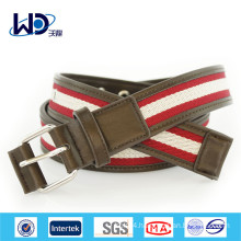Men Pin Buckles PU Trimming Canvas Webbing Belts