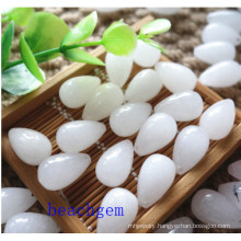 Natural White Jade Drop Loose Gemstones
