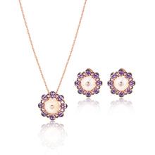 Juego de joyas de oro rosa MOP Amethyst CZ blanco