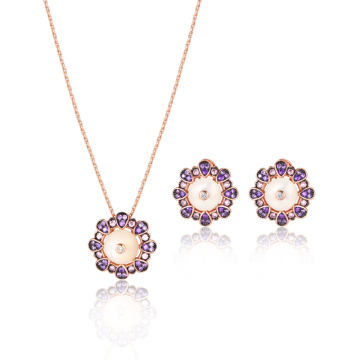 White MOP Amethyst CZ Rose Gold Jewelry Set