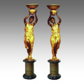 Bougeoir Statue Lady Candlestick Bronze Sculpture TPE-270 & 271 / 270L & 271L