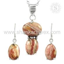 Великолепное родохрозит драгоценных камней серебряный комплект ювелирных изделий 925 серебряные ювелирные изделия оптовая торговля ювелирных изделий