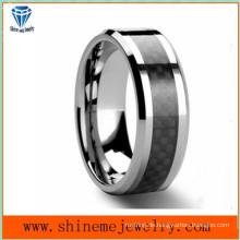 Shineme Schmuck Schwarz Carbon Fiber Wolfram Ring (TST2827)